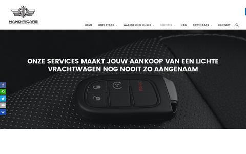 Screenshot of Services Page handiricars.be - Lichte vrachtwagen services voor en na verkoop - captured July 11, 2016