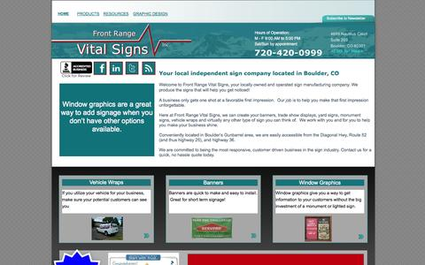 Screenshot of Home Page frontrangevitalsigns.com - Front Range Vital Signs, Custom Banners, Vehicle Wraps and Graphics, Design, Boulder, Longmont, Erie - captured Sept. 30, 2014