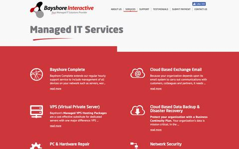 Screenshot of Services Page bayshore.net - Orlando IT Support | Orlando Managed IT Services | Bayshore - captured Oct. 10, 2017