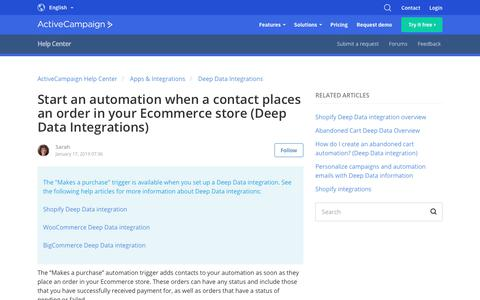 Screenshot of Support Page activecampaign.com - Start an automation when a contact places an order in your Ecommerce store (Deep Data Integrations) – ActiveCampaign Help Center - captured June 18, 2019