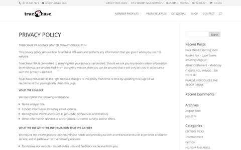 Screenshot of Privacy Page truechase.com - PRIVACY POLICY | TrueChase PR Agency - captured Oct. 9, 2014