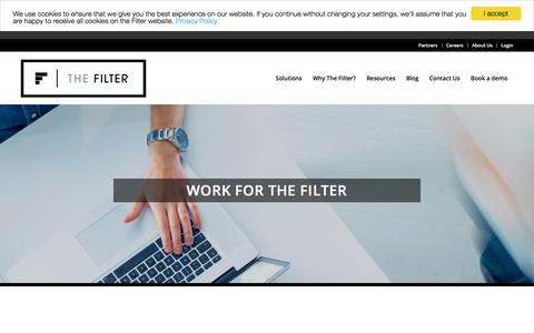 Screenshot of Jobs Page thefilter.com - Careers - The Filter - captured Aug. 3, 2017