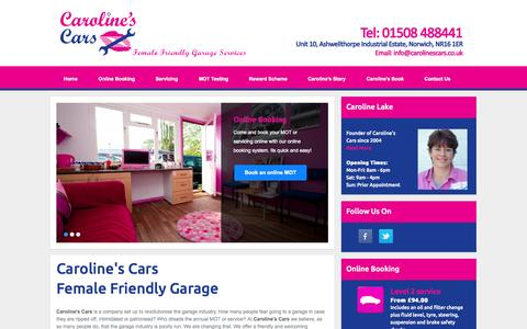 Screenshot of Home Page carolinescars.co.uk - Caroline's Cars - Female Friendly MOT Garage Services in Norwich - captured Jan. 26, 2015