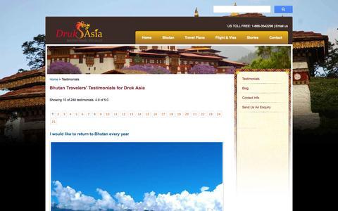 Screenshot of Testimonials Page drukasia.com - Bhutan Travel Review & Testimonial | Druk Asia - captured Oct. 5, 2014