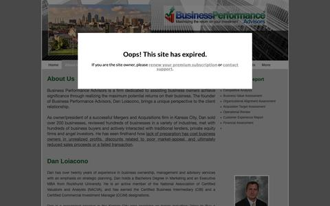 Screenshot of About Page bpa-kc.com - Business Performance Advisors - About Us - captured Oct. 13, 2018