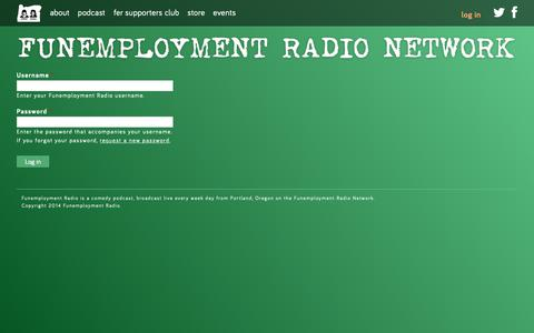 Screenshot of Login Page funemploymentradio.com - Log in | Funemployment Radio - captured Sept. 27, 2018
