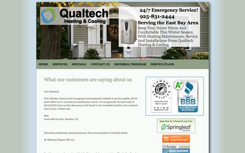 Screenshot of Testimonials Page qualtechhvac.com - Danville, CA Testimonials |  Qualtech Heating And Cooling - captured Oct. 22, 2014