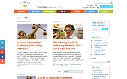 Screenshot of Blog athenabrand.com - Blog - Athena Brand Wisdom - captured Oct. 4, 2014