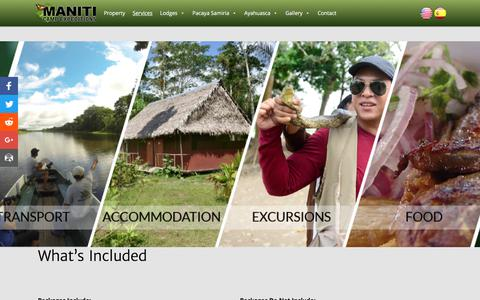 Screenshot of Services Page manitiexpeditions.com - Maniti Expeditions Tours In Iquitos Peru - Whats Included - captured Oct. 6, 2017
