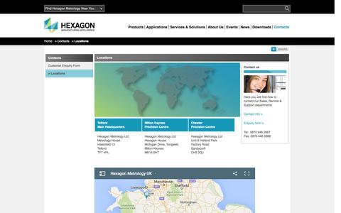 Screenshot of Locations Page hexagonmetrology.co.uk - Locations | Hexagon Metrology - UK & Ireland - captured Jan. 23, 2016