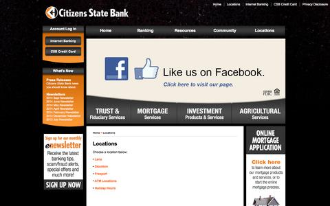 Screenshot of Contact Page Locations Page csbnow.com - Locations | Citizens State Bank - captured Oct. 22, 2014
