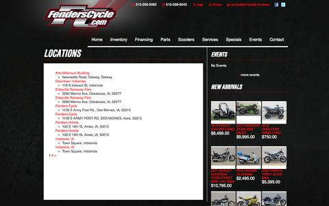 Screenshot of Locations Page fenderscycle.com - Locations | Fenders Cycle - captured Oct. 5, 2014
