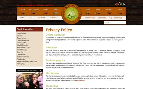 Screenshot of Privacy Page nuovotea.com - Privacy Policy | Nuovo Tea - captured Sept. 30, 2014