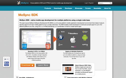 Screenshot of Products Page mosync.com - Native mobile app development using cross-platform IDE   MoSync SDK - captured Sept. 16, 2014
