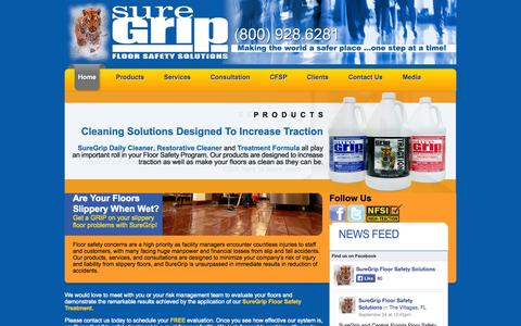Screenshot of Home Page suregripfloorsystems.com - SureGrip Floor Safety Systems - Prevent Slip And Fall Injuries - captured Oct. 7, 2014