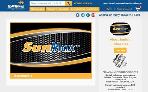Screenshot of Testimonials Page sunbeltlubricants.com - Testimonials | SunMax - captured Sept. 20, 2018