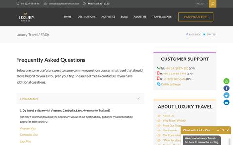 Screenshot of FAQ Page luxurytravelvietnam.com - FAQs | Luxury Travel - captured Sept. 30, 2018
