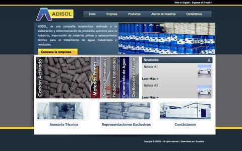 Screenshot of Home Page adisol.com.ec - Adisol - Aditivos y sustancias químicas - Guayaquil, Ecuador - captured Sept. 30, 2014
