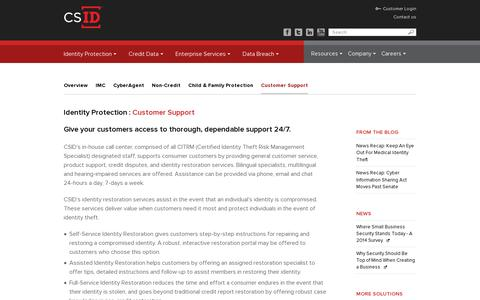 Screenshot of Support Page csid.com - Identity Restoration & Customer Support | CSID - captured July 19, 2014