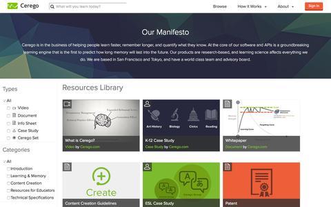 Screenshot of About Page cerego.com - About | Cerego - captured Dec. 8, 2015