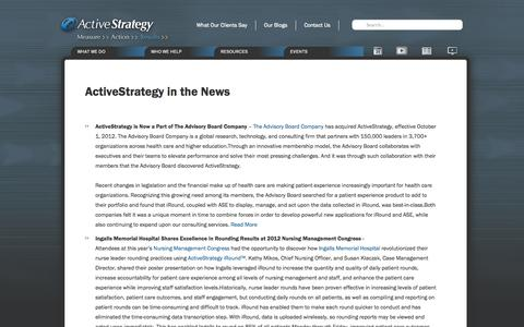 Screenshot of Press Page activestrategy.com - In the News | ActiveStrategy.com - captured Oct. 4, 2014