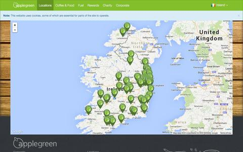 Screenshot of Locations Page applegreen.ie - Locations - captured Oct. 2, 2014