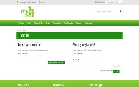 Screenshot of Login Page mybio.ie - Authentication - MyBio - captured Oct. 9, 2014