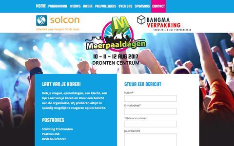 Screenshot of Contact Page meerpaaldagen.nl - Contact - captured Dec. 14, 2016