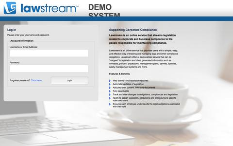 Screenshot of Demo Page lawstream.com.au - Log In - captured July 21, 2017