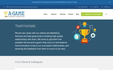 Screenshot of Testimonials Page agamesm.com - Testimonials - A-Game Strategic Marketing - AGameSM - captured Feb. 1, 2016