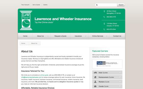 Screenshot of About Page lawrenceandwheeler.com - About Us – Springfield, VT | Lawrence and Wheeler Insurance - captured June 17, 2016