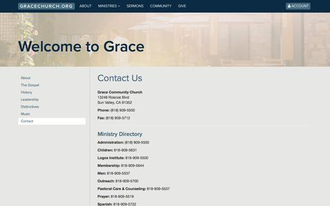 Screenshot of Contact Page gracechurch.org - Contact | Grace Community Church - captured Sept. 22, 2016