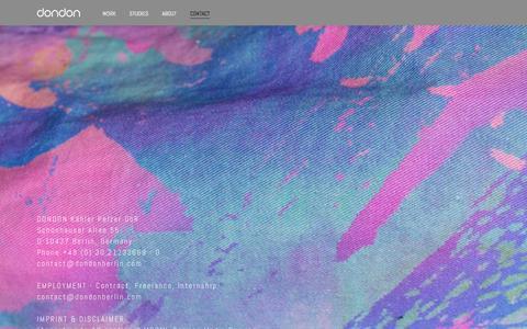 Screenshot of Contact Page dondonberlin.com - DONDON - BUREAU FOR VISUAL CREATIVITY - captured Oct. 13, 2017
