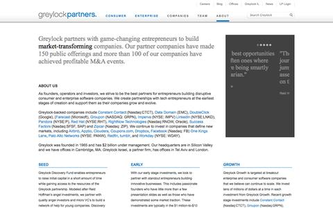 Screenshot of About Page greylock.com - Greylock Partners - About - captured Nov. 2, 2014