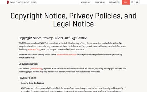 Screenshot of Privacy Page wmf.org - Copyright Notice, Privacy Policies, and Legal Notice | World Monuments Fund - captured Nov. 30, 2016