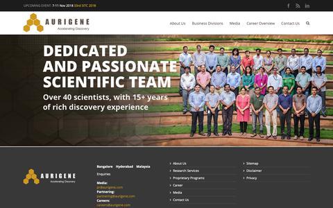 Screenshot of Home Page aurigene.com - Aurigene   Accelerating Discovery - captured Oct. 4, 2018