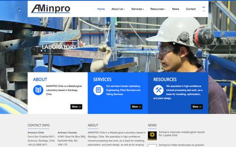 Screenshot of Home Page aminpro.com - Aminpro - Metallurgical labs, pilot plants, process engineering - Laboratorio metalúrgico, planta piloto, ingenieria de procesos - captured Oct. 11, 2015