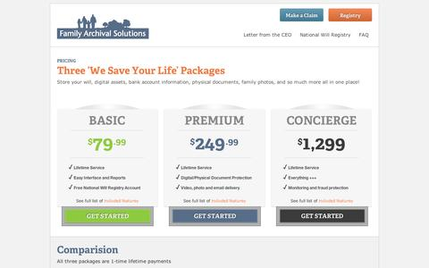Screenshot of Pricing Page familyarchivalsolutions.com - Three 'We Save Your Life' Packages - Family Archival Solutions - captured Sept. 10, 2014