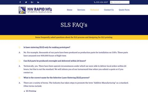 Screenshot of FAQ Page nwrapidmfg.com - NW Rapid Manufacturing, 3D Printing, SLS FAQ - captured Oct. 18, 2018