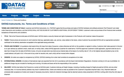 Screenshot of Terms Page dataq.com - DATAQ Instruments Terms and Conditions of Sale - captured Dec. 12, 2018
