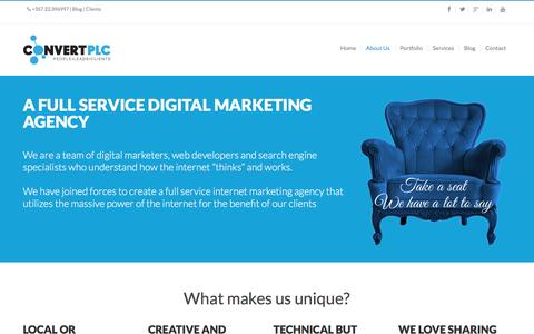 Screenshot of About Page convertplc.com - What makes us unique- Digital Marketing Agency Cyprus - captured Jan. 31, 2016