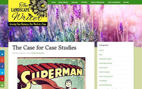 Screenshot of Case Studies Page landscapewriter.com - Lawn and Landscape Case Studies The Landscape Writer - captured Oct. 18, 2018