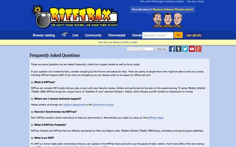 Screenshot of FAQ Page rifftrax.com - Frequently Asked Questions | RiffTrax - captured Sept. 17, 2014