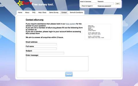 Screenshot of Support Page esurv.org - Contact eSurv.org - captured Nov. 5, 2014