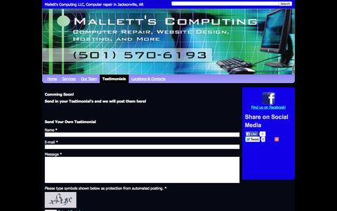 Screenshot of Testimonials Page mallettscomputing.com - Testimonials - Mallett's Computing LLC - captured Nov. 2, 2014