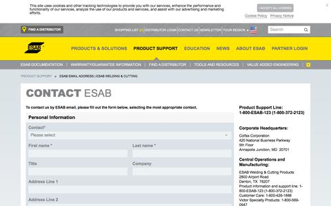 Screenshot of Contact Page esabna.com - Contact ESAB - captured Nov. 22, 2019