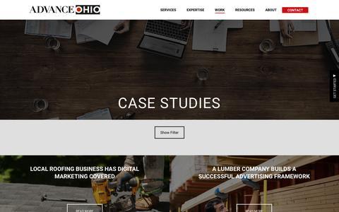 Screenshot of Case Studies Page advance-ohio.com - Case Studies - Advance Ohio - captured July 6, 2018