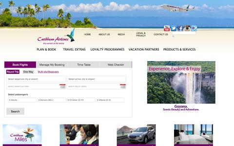 Screenshot of Home Page caribbean-airlines.com - Caribbean Airlines Limited   Caribbean Airlines, the warmth of the islands - captured March 12, 2016