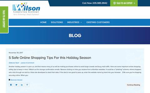 Screenshot of Blog wilsoncomputer.com - Blog | Wilson Computer Support | Birmingham Alabama Computer Repair, Website Design, and Hosting. - captured Nov. 13, 2019
