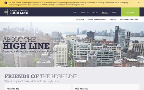 Screenshot of About Page thehighline.org - About the High Line | Friends of the High Line - captured Feb. 10, 2016
